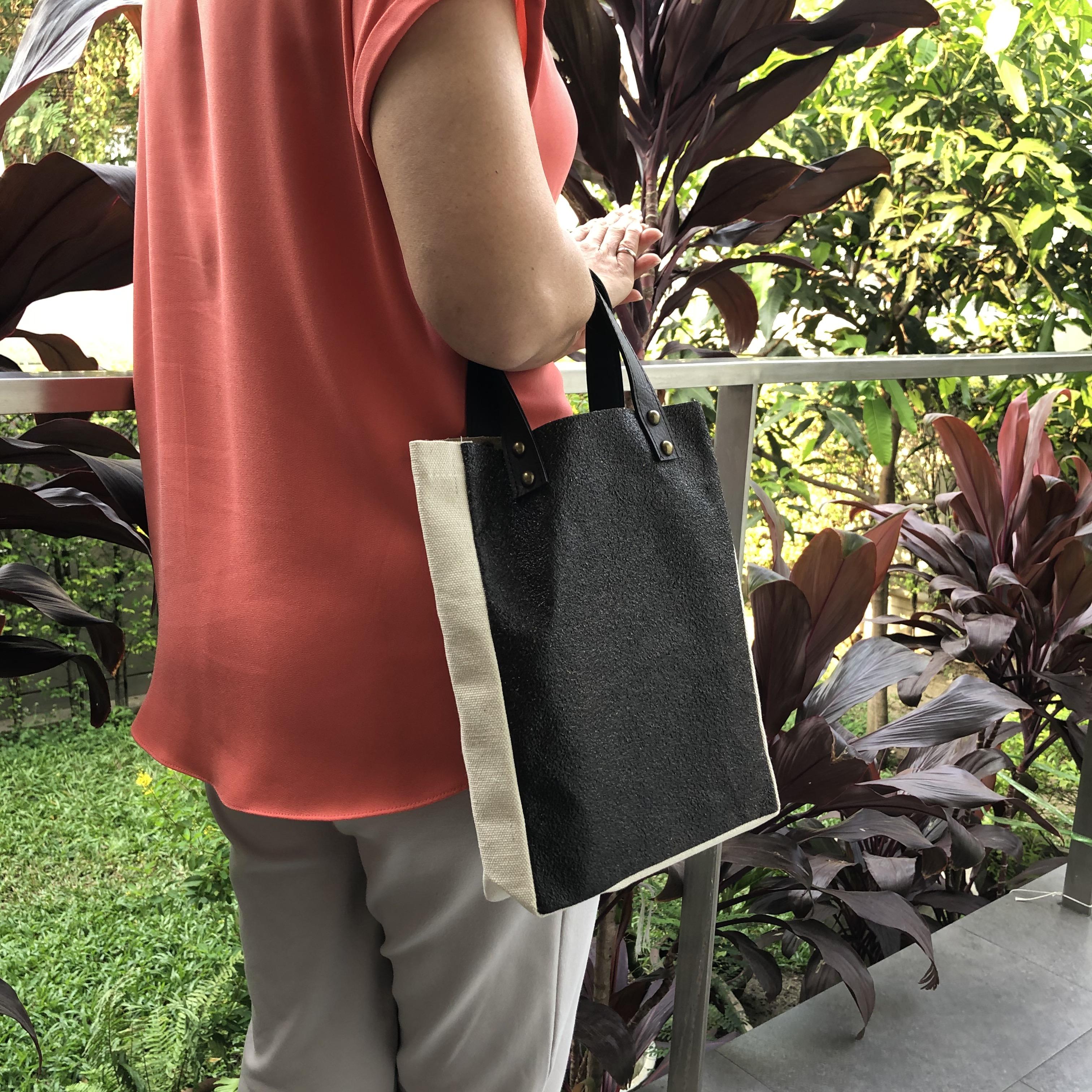 กระเป๋าช้อปปิ้ง กระเป๋าผ้ารำข้าว ผ้ากากกาแฟ รุ่น 9038